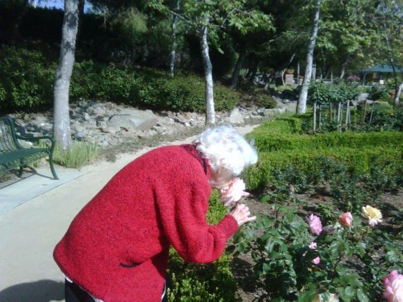 Mom smelling the roses
